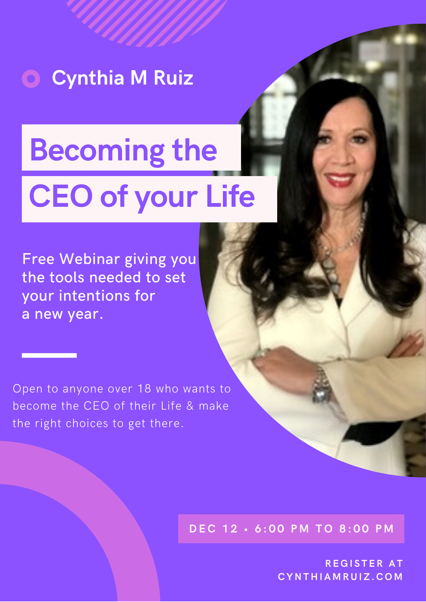 "Free 2 Hour Webinar ""Becoming the CEO of your Life"